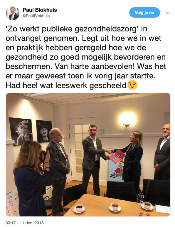 Staatssecretaris Paul Blokhuis tweet